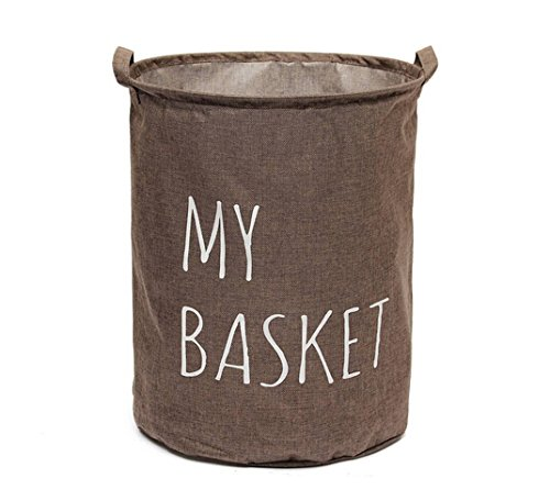 Large Size Foldable Round Linen Laundry Basket Storage Bucket Storage Bag with Waterproof Coating, 20 by 16-Inches (Coffee) (Large Round Linen Basket compare prices)
