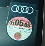 Tax Disc Holder DOUBLE SIDE logo BLACK SERIES - Suitable for AUDI A2, A3, A4, A6, A8, Coupe, Quattro, RS4, S2, S3, S4, S6, S8, TT, RS, ALL AUDI