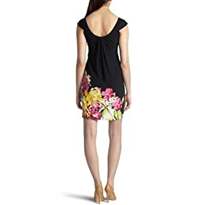 Amazon.com: London Times Women's Waterfall Dress With Border Hem Print: Clothing