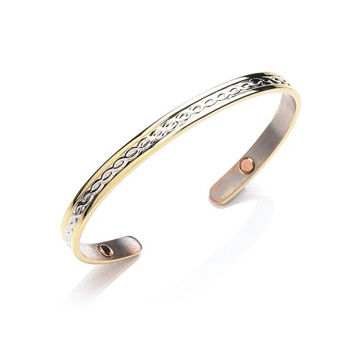 Gold Plated Copper Magnetic Patterened 6Mm Bangle