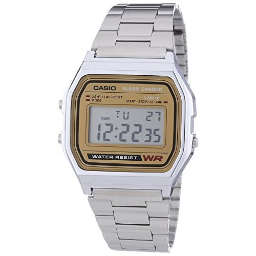 Casio A158WEA-9EF Men's Classic Retro Digital Watch with Stainless Steel Bracelet