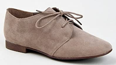Breckelle's SANDY-31 Basic Classic Lace Up Flat Oxford Shoe,5.5 B(M) US,Dark Taupe,5.5 B(M) US