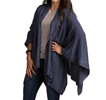 Chic Knitted Poncho Cape Shawl Wrap with Pockets, 3 Colors (indigo) at