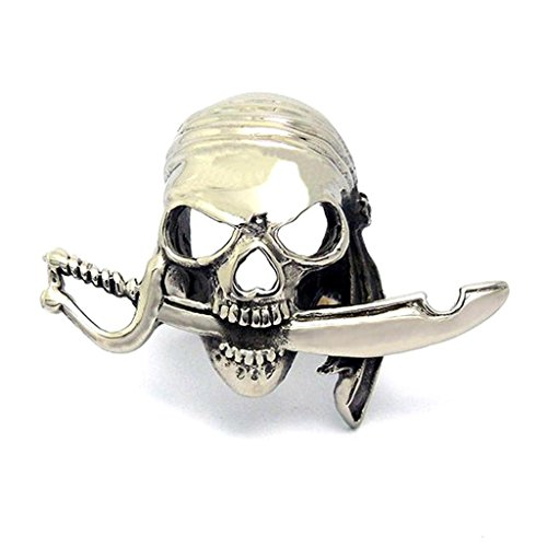 Mens Stainless Steel Finger Rings Skull Head Bite Sword Width 34Mm Size 11 - Adisaer Jewelry