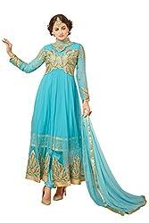 YOUR CHOICE Georgette Blue Embroideried Women's Lehenga Choli HTS1001