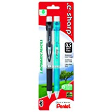 Pentel .e-sharp Automatic Pencil, 0.5mm, Assorted Barrels, 2 Pack (AZ125BP2M-K6)