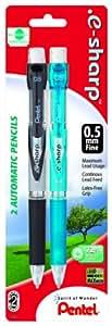 Pentel .e-sharp Automatic Pencil, 0.5mm, Assorted Barrels, 2 Pack (AZ125BP2M-K6)