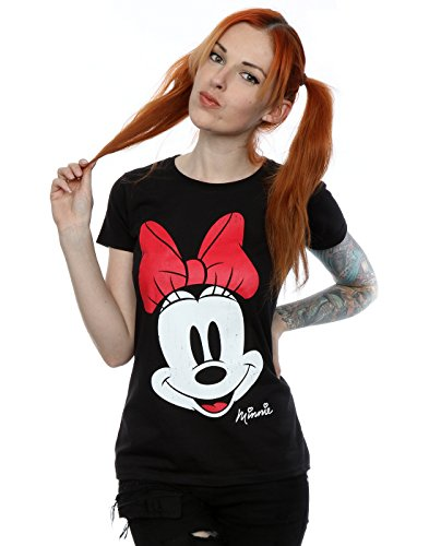 Disney Donna Minnie Mouse Distressed Face Maglietta X-Large Nero
