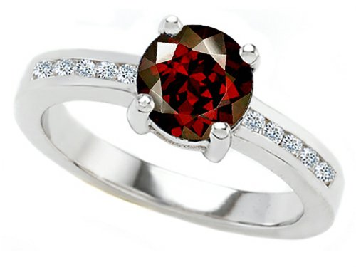 Star K Round 7Mm Genuine Garnet Engagement Ring Size 6