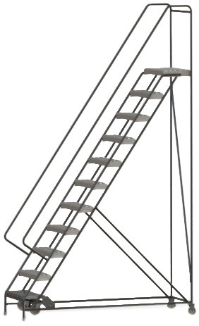 Tri-Arc WLAR111245 11-Step All-Welded Aluminum Rolling Industrial & Warehouse Ladder with Handrail, Grip Strut Tread