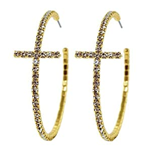 Heirloom Finds Elegant Bling Crystal Cross Hoop Earrings in Gold Tone