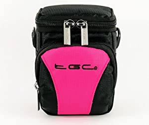 The TGC ® Hot Pink & Black Deluxe Compact Shoulder Carry Case Bag for the Canon PowerShot SX150 IS Black Camera