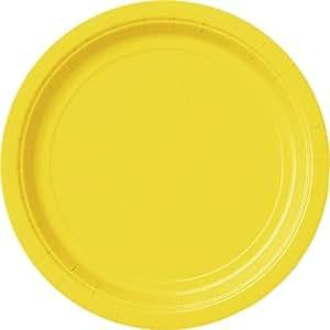20 Count Dessert Plates, 7-Inch, Sunflower Yellow