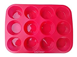 Kricket\'s Kitchen 12 Cup Red Silicone Cupcake Pan / Non Stick Muffin Pan / Silicone Baking Pans / Kitchen Safe