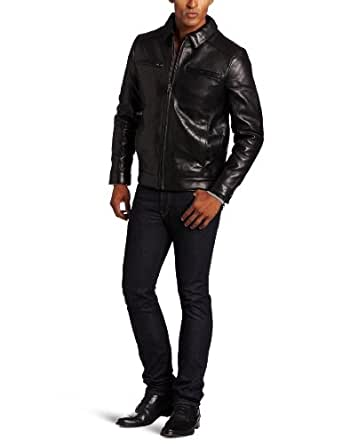 Emanuel by Emanuel Ungaro Men's Shirt Collar Leather Jacket with 2 Chest Pockets and Band Waist, Black, Medium