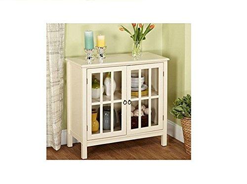 Cumberland Double Glass Door Cabinet (Antique White) (Cabinet With Glass Doors White compare prices)