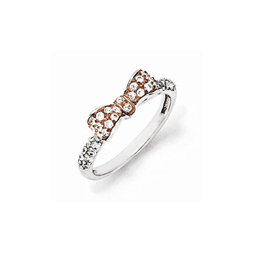 Jewelry Best Seller Sterling Silver Rose Gold-Plated Cz Bow Ring