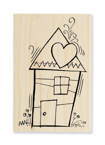 "Stampendous Wooden Handle Rubber Stamp, ""Pen Pattern House"" - 1"