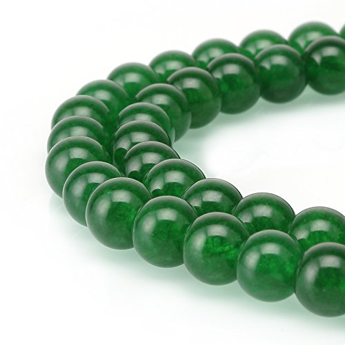 BRCbeads Jade Gemstone Loose Beads Natural Round 6mm Crystal Energy Stone Healing Power for Jewelry Making- Emerald Green (Glass Gem Jade compare prices)