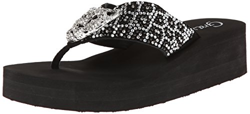 Grazie Women'S Cat Flip Flop,Black,8 B Us front-556036