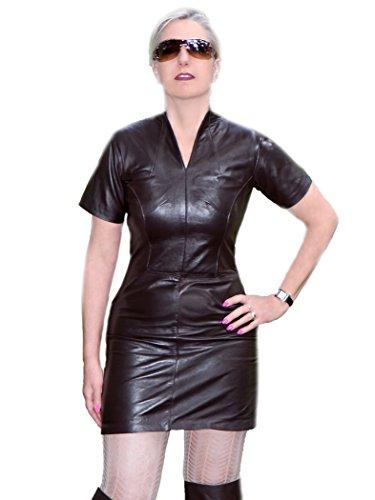 Fetish-Design Leder-Kleid Dunkelbraun Größe XL