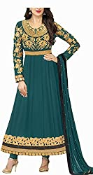 Awesome Fab Teel Green Georgette Semi-Stiched Embroidered Anarkali