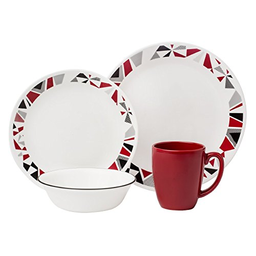 Corelle Livingware 16-Piece Dinnerware Set, Mosaic Red, Service for 4 (Corelle Dishes Round compare prices)
