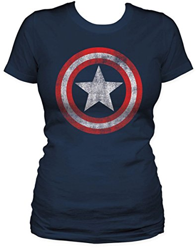 Captain America-S/S Shield-Maglia da donna, colore: Navy blu navy X-Large