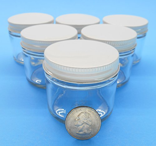 2 Oz. Straight-Sided Jars with Metal Plastisol Lids (6, White) (Apothecary Jar With Metal Lid compare prices)