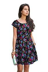S2 Fashion Women's Floral Magenta Skater Dress
