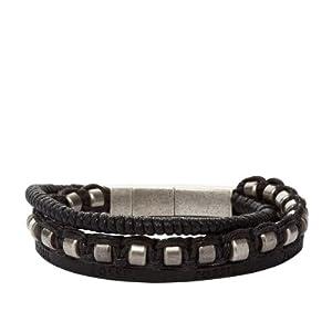 Fossil Herren-Armband Leder-Edelstahl JF86554 040