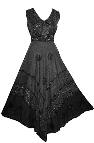 1011 Romantic Evening Empire Party Gothic Flair Sleveless Dress Gown[Xl/1X, Black]