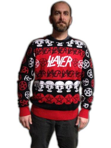 Slayer Pentagram & Skulls Adult Christmas Sweater Medium