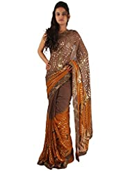 Brown Designer Party Wear Saree Georgette Heavy Sequins Work Sari