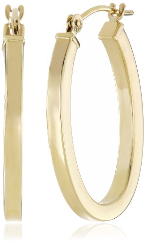 "Duragold 14k Yellow Gold Square Tube Oval Hoop Earrings (0.6"" Diameter)"