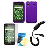 Purple Silicone Case / Skin / Cover, LCD Screen Guard / Protector and Car Charger for Samsung Vibrant SGH-T959