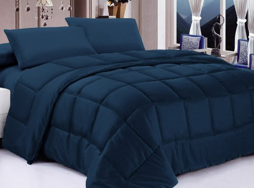 Big Save! Posh Home Alternative Down Comforter, King, Navy