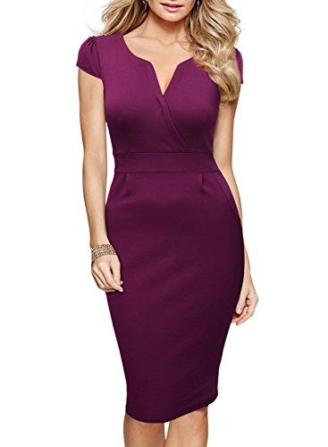 Miusol-Womens-Classicial-V-Neck-Retro-Business-Bodycon-Pencil-Dress