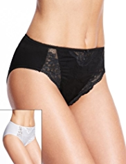 2 Pack Per Una Jasmine Lace High Leg Knickers