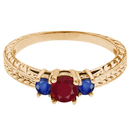0.56 Ct Round Red Ruby Blue Sapphire 14K Yellow Gold 3-Stone Ring