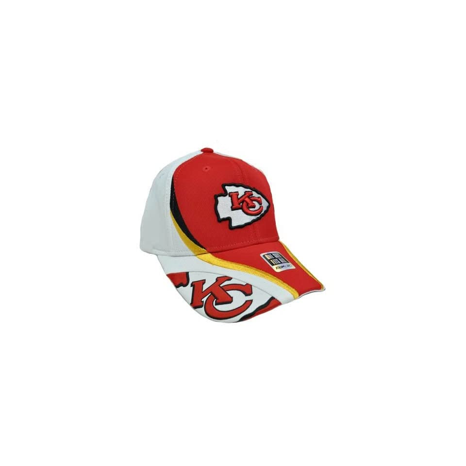 d12ca7a9f54 NFL Kansas City Chiefs Red Yellow Gold White Reebok Rbk Flex Fit Nylon Hat  Cap
