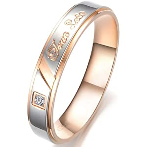 "JewelryWe Stainless Steel Rose Gold Tone ""True Love"" Engraved Women Ring for Wedding/Engagement/Promise/Eternity (Size 4)"