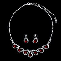 Silver Tone Red Rhinestone Crystal Bridal Necklace Earrings 2-pcs Set