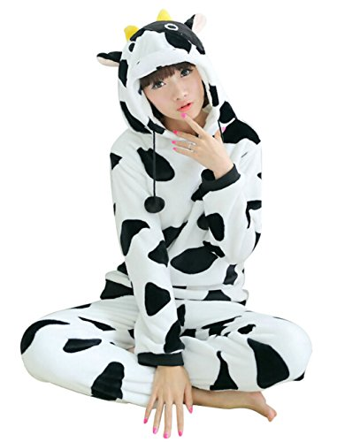 Wjia Winter Adult Cosplay cow Flannel Animal Pajamas