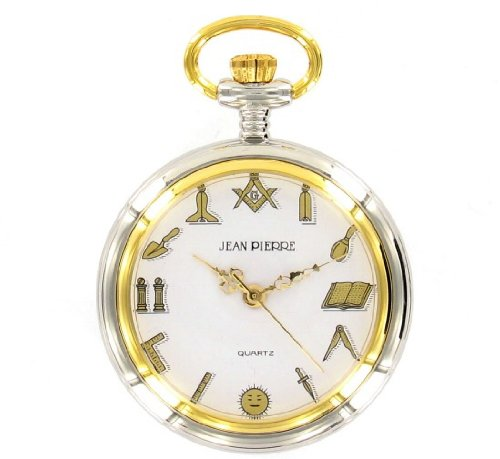 Jean Pierre Gold And Silver Plated Open Face Masonic Pocket Watch G131cq