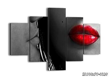 impression sur toile 100x70 cm image sur toile 5 parties encadr e prete a. Black Bedroom Furniture Sets. Home Design Ideas