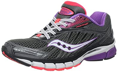 Saucony Women's Ride 6 Running Shoe,Grey/Purple/Vizipro Coral,5 M US