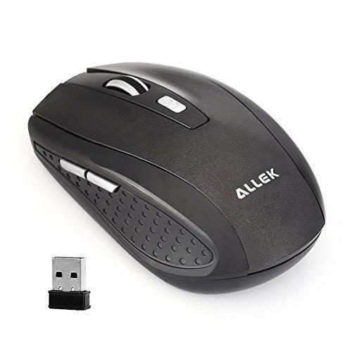 Allek® G109 2.4G Schnurlos Maus Wireless Mouse 2.4G 1600 DPI 6 Tasten Optische Mäuse mit USB Nano Empfänger Für PC Laptop iMac Macbook Microsoft Pro Gamer Schwarz