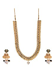 Ganapathy Gems 1 Gram Gold Plated South Indian Lakshmi Coin Long With Pearls And Green Stones Necklace Set For...