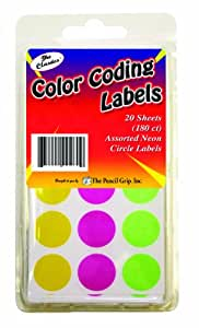 Pencil Grip The Classics Color Coding Labels, Neon, 20 Sheets, 180 Count (TPG-460)